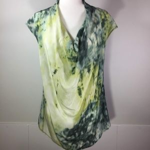 Deletta Green/Blue Tie Dye Sleeveless  Blouse L